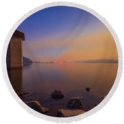 South Holston By Moon And Firelight Round Beach Towel