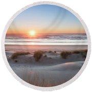 South Jetty Beach Sunset, No. 4 Round Beach Towel by Belinda Greb