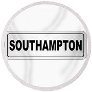 Southampton City Nameplate Round Beach Towel