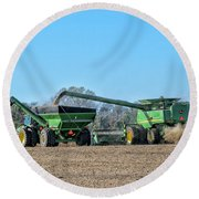 Soybean Harvest Max Round Beach Towel
