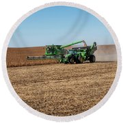 Soybeans Harvest Round Beach Towel