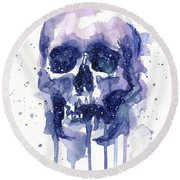 Space Skull Round Beach Towel