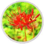Spider Lily Cezanne Round Beach Towel