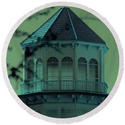 Spooky Tree In Front Of Gothic Building Round Beach Towel by Colleen Cornelius