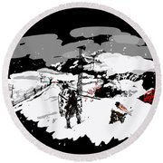 Spots In Snow In Black And White  Round Beach Towel