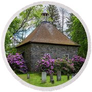 Spring At The Crispell Memorial French Church Round Beach Towel
