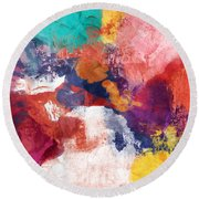 Spring Crush 3- Abstract Art By Linda Woods Round Beach Towel