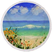 Spring Flowers And Sea And Clouds Round Beach Towel