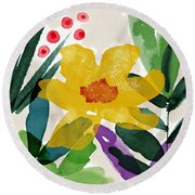 Spring Garden Yellow- Floral Art By Linda Woods Round Beach Towel