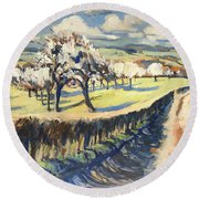 Spring In The Bellet Fruit Orchard Round Beach Towel