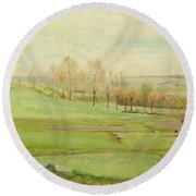 Spring Landscape With Light Green Fields Round Beach Towel