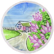 Spring Lilac Round Beach Towel