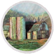 Spring On The Farm - Old Barn With Two Silos Round Beach Towel