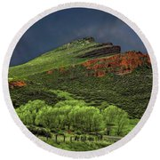 Spring Storm At Milepost 84 Round Beach Towel