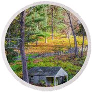 Springhouse On Wises Mill Rd - Roxborough Philadelphia Round Beach Towel by Bill Cannon