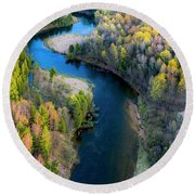 Springtime On The Manistee River Aerial Round Beach Towel