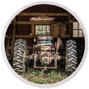 Square Format Old Tractor In The Barn Vermont Round Beach Towel