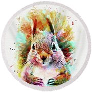 Squirrel Painting Round Beach Towel