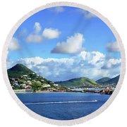 St. Maarten Panorama Round Beach Towel