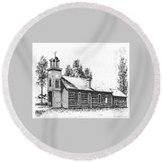 St. Mary's Mission, Stevensville, Montana Round Beach Towel
