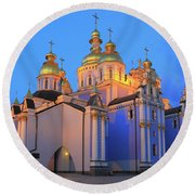 St Michael's Golden-domed Monastery At Dusk Kiev Ukraine Round Beach Towel