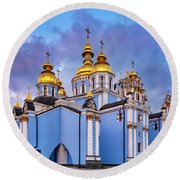 St. Michael's Golden-domed Monastery Round Beach Towel