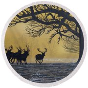 Stags At Dawn Round Beach Towel