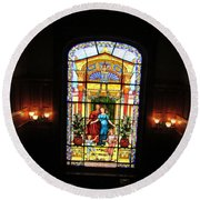 Stained Glass At Moody Mansion Round Beach Towel