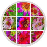 Stained Glass Pink Flower Collage  Round Beach Towel