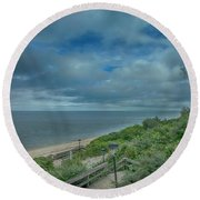 Stairs To The Beach Round Beach Towel by Judy Hall-Folde