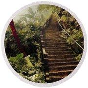 Stairway To Yesterday Round Beach Towel
