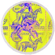 Stamps And Stallions Round Beach Towel