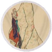 Standing Nude With A Patterned Robe, 1917  Round Beach Towel