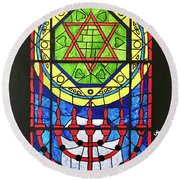 Star Of David Stained Glass Round Beach Towel