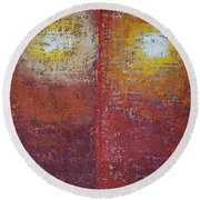 Staring Into The Suns Original Painting Round Beach Towel
