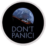 Starman Don't Panic In Orbit Round Beach Towel