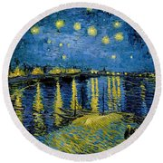 Starry Night - Digital Remastered Edition Round Beach Towel