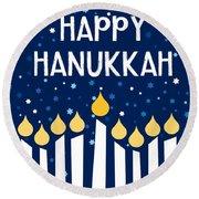 Starry Night Hanukkah Menorah- Art By Linda Woods Round Beach Towel