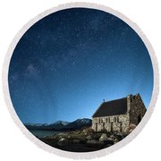 Stars And Midnight Blue Round Beach Towel