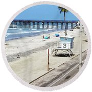 Station 3 Oceanside California 2  Round Beach Towel