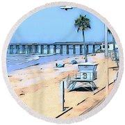 Station 3 Oceanside California Round Beach Towel