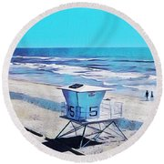 Station 5 Oceanside California 2  Round Beach Towel