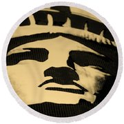 Statue Of Liberty In Dark Sepia Round Beach Towel