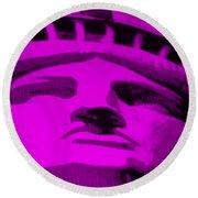 Statue Of Liberty In Purple Round Beach Towel