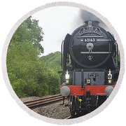 Steam Locomotive Round Beach Towel