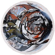 Steampunk Metallic Fish Round Beach Towel