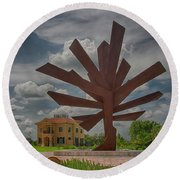 Steel Palm - Peace River Botanical And Sculpture Gardens Round Beach Towel