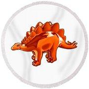 Stegosaurus Cartoon Round Beach Towel