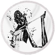 Steven Tyler Microphone Aerosmith Black And White Watercolor 01 Round Beach Towel