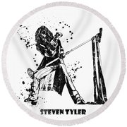 Steven Tyler Microphone Aerosmith Black And White Watercolor 02 Round Beach Towel